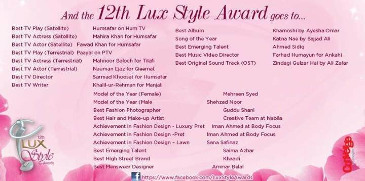 Lux Style Awards 2013 Results