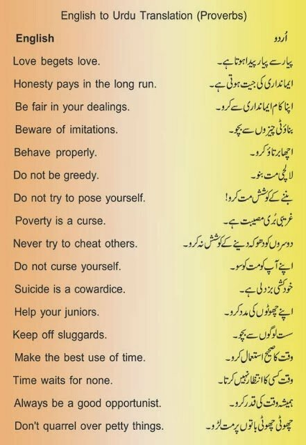 popular proverbs in urdu with english translation