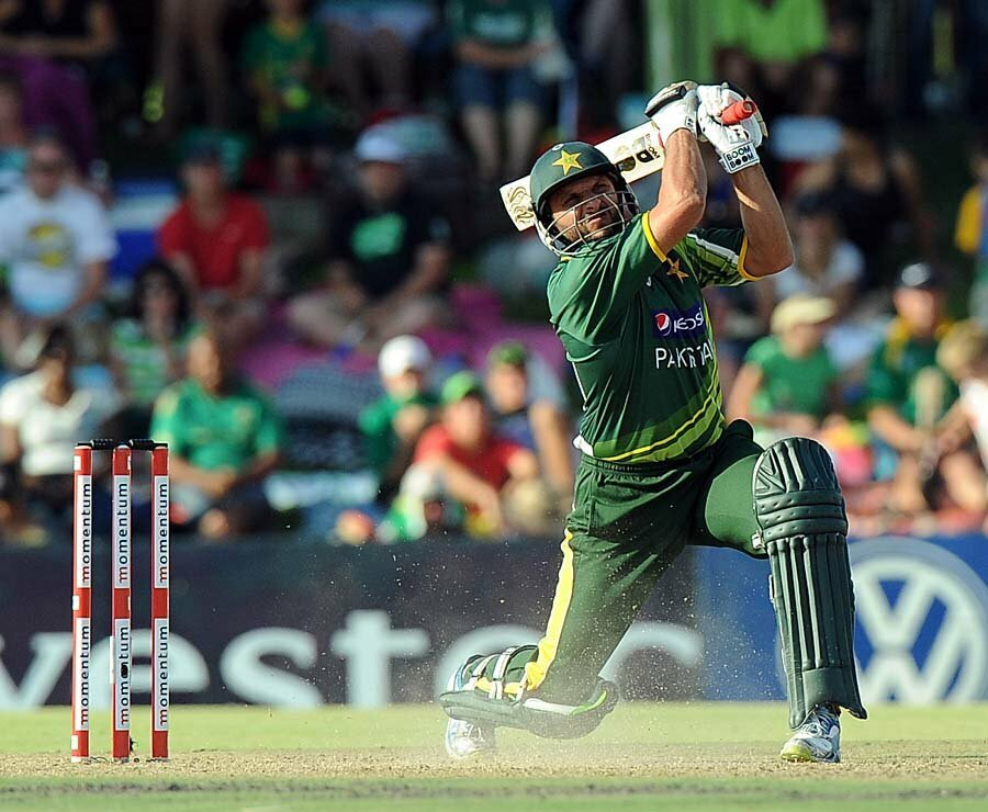 Pakistan's Shahid Afridi bats during a One-Day International (ODI) cricket match between South Africa and Pakistan in Bloemfontein at Chevrolet Park on March 10, 2013. South Africa won by 125 runs. AFP PHOTO / ALEXANDER JOE (Photo credit should read ALEXANDER JOE/AFP/Getty Images)
