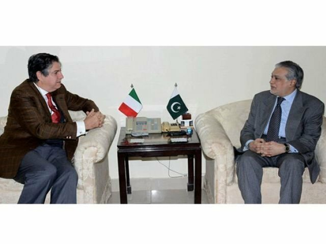Finance Minister Senator Mohammad Ishaq Dar in a meeting with the Ambassador of Italy, Stefano Pontecorvo