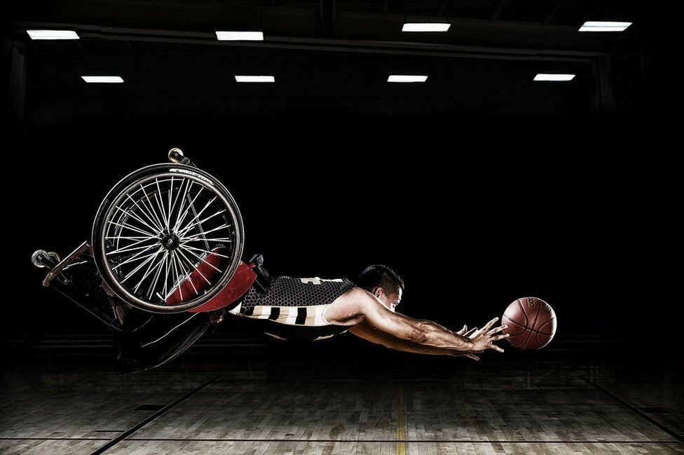 Rob Gregory's pictures were taken for the Rehabilitation Institute of Chicago's adaptive sports programme and the RIC Hornets wheelchair basketball team.