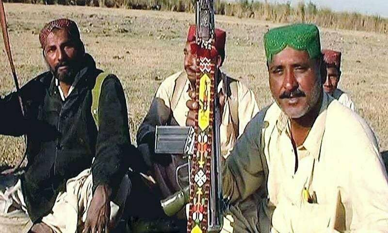 Ghulam Rasool alias Chotu (Right) with his group of armed men