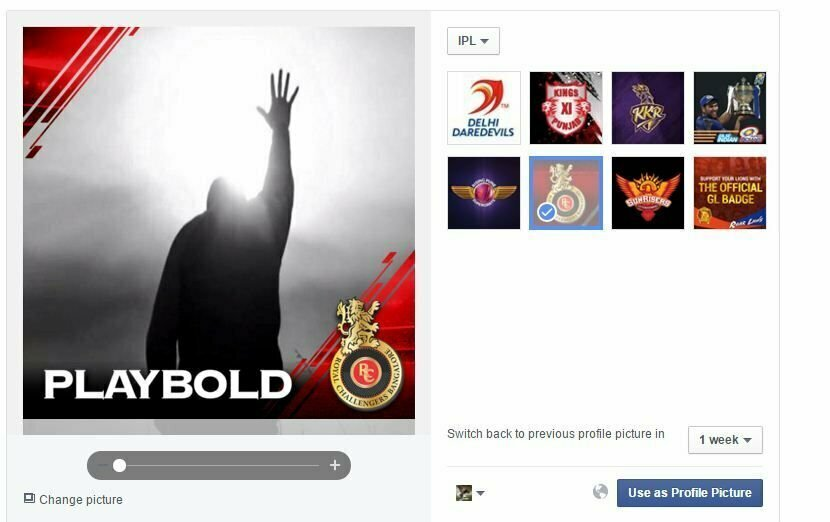 Customise Facebook Profile Pic to Support Your Favourite IPL Team