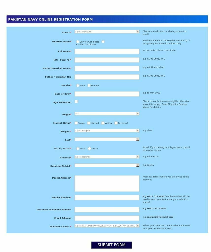 Pak navy Registration Form