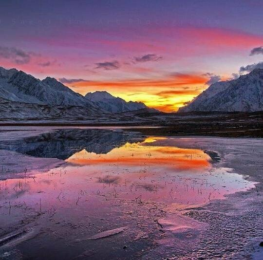 Frozen Sunset View at Shandur Lake, Gilgit-Baltistan