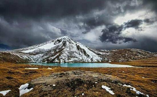 Overcast weather in Dharam Sar Lake, Kaghan Valley.