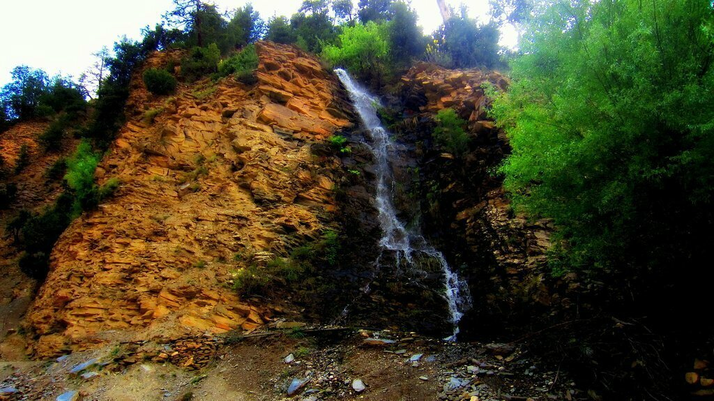Waterfall on way from Birir Pass to Bumburet in Kalasha Valleys, Khyber Pakhtunkhwa