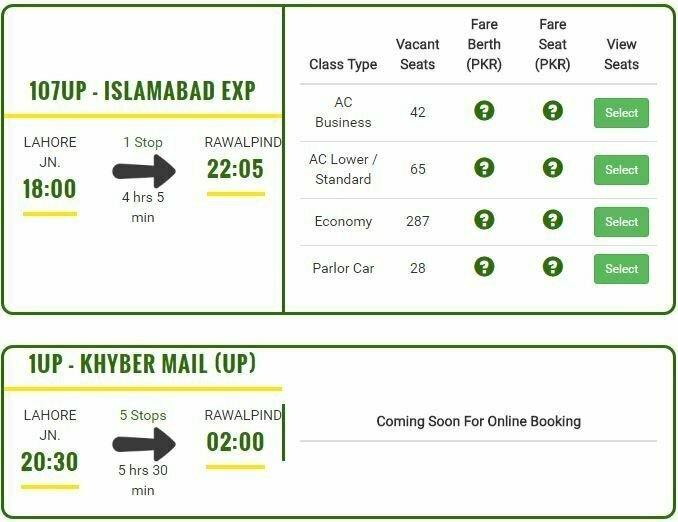 Pak Railway Online Ticket Reservation System How To Book