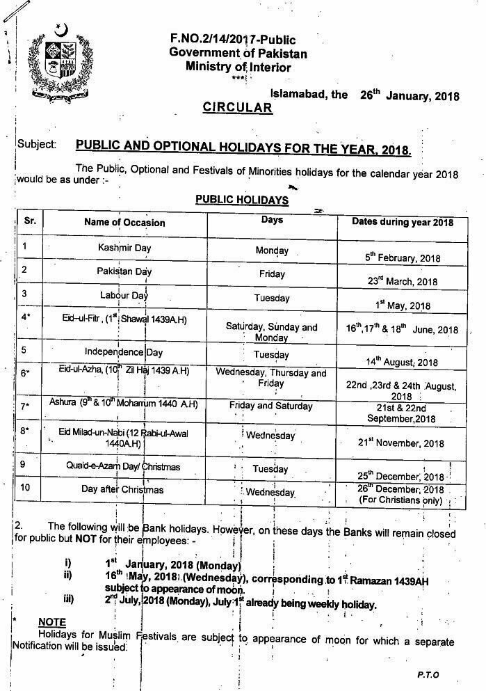 In Addition To Public Holidays Ministry Of Interior Also Publish The List Optional Pakistan As Well However Are Never