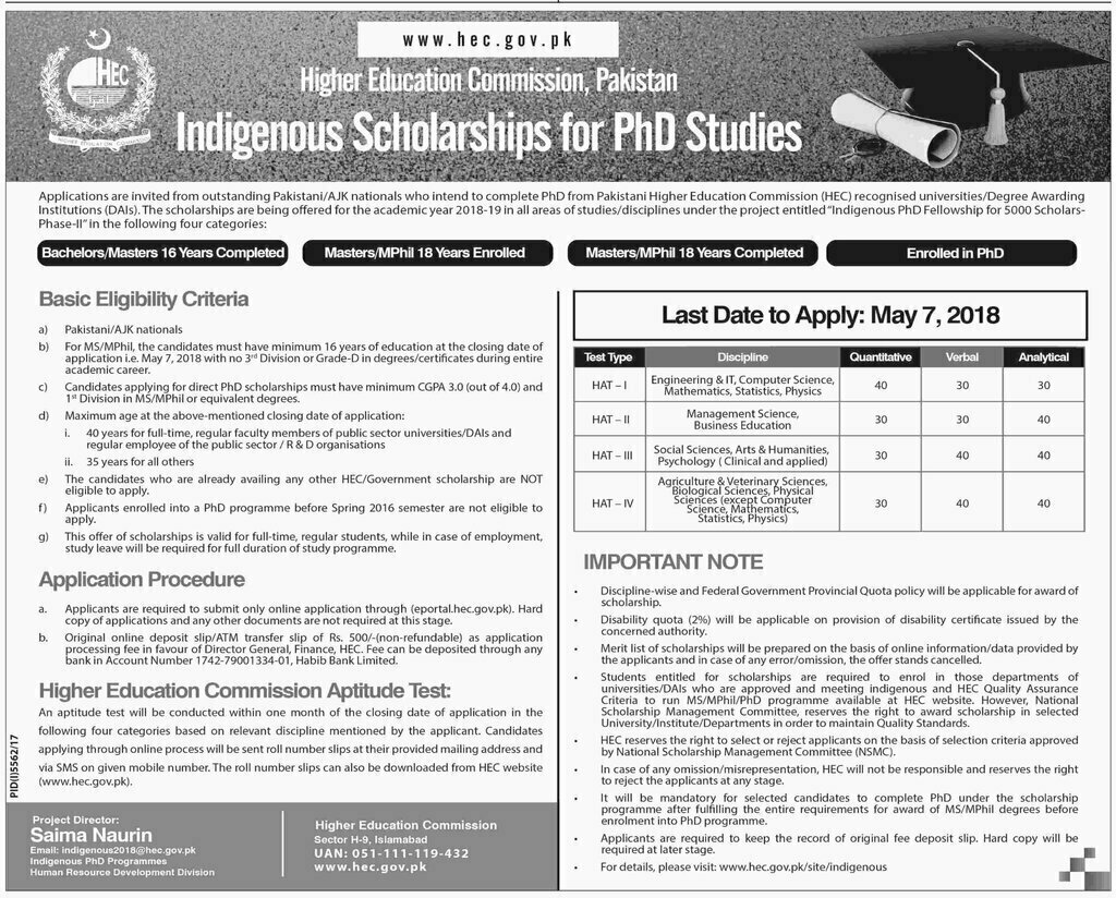 hec indigenous scholarships 20182019 application form and